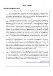 English Worksheet: Reading - My Erasmus Experience