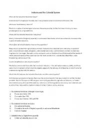 English Worksheets: Industry and the Colonial System (Britain)
