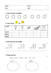 English Worksheet: Happy street 1 - Test Paper