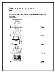 English worksheets: -ug word family