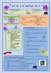 English Worksheet: So do I/ Neither do I Practice (improved version)