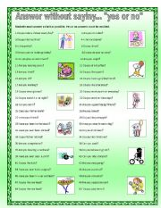 English Worksheets: Answer without saying
