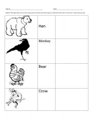 English Worksheets: Omnivores - match the following