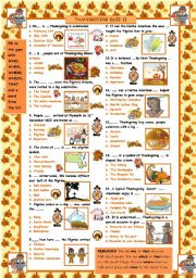English Worksheet: Thankgiving Quiz II - who, what, where...