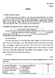 English Worksheet: review 8th form ( tunisia )