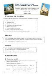 English Worksheet: How to write a description of a place