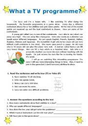 English Worksheets: What a TV programme