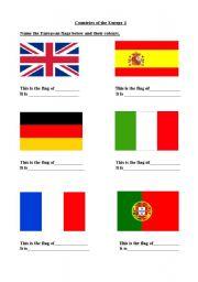 English Worksheet: Flags of Europe