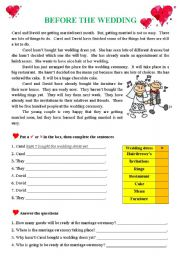 English Worksheet: Before the Wedding
