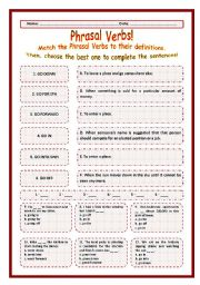 > Phrasal Verbs Practice 70! > --*-- Definitions + Exercise --*-- BW Included --*-- Fully Editable With Key!