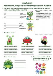 English Worksheet: HAVE/HAS (Affirm/Neg/Interrog) WITH ALIENS