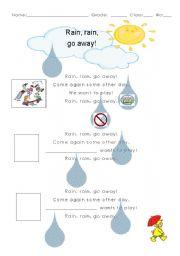 English Worksheet: Rain, rain, go away!