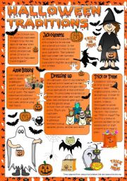 English Worksheet: Halloween Taditions - reading