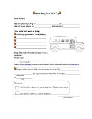English Worksheets: We�re Going on a Field Trip