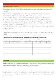 English Worksheet: debate on social networks