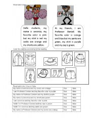 English Worksheets: CLOTHES - READING COMPREHENSION