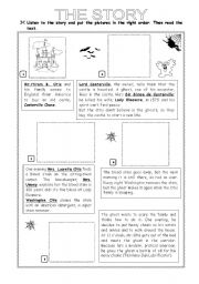 English Worksheet: Halloween Story: The Canterville Ghost - part 3/4