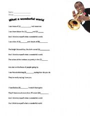 English Worksheet: What a wonderful world (fill the blanks) +powerpoint