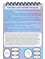 English Worksheets: introduce and conclude paragraphs + black and white version