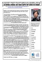 English Worksheet: A look back at the life of Steve Jobs (listening - reading)