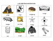 english worksheets j and dge picture and word cards. Black Bedroom Furniture Sets. Home Design Ideas