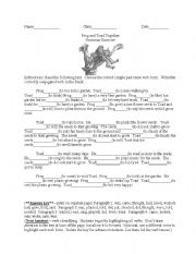 English Worksheets: Frog and Toad Grammar Exercises