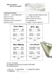 English Worksheets: Saving and Spending