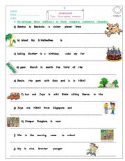 English Worksheets: re arranging sentences