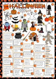 English Worksheet: Halloween Time - reading and matching (Greyscale + KEY included)