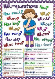 English Worksheets: Wh- questions - POSTER