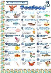 English Worksheet: Seafood-Quiz