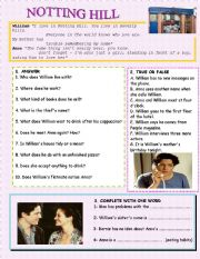 Notting Hill Movie Worksheet with KEY
