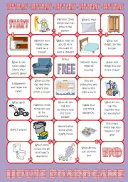 English Worksheets: House Board Game