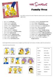 English Worksheet: The Simpsons: family tree