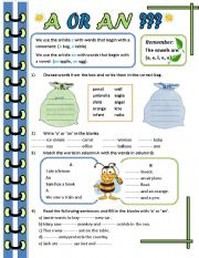 English Worksheet: A or An?