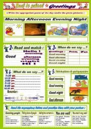 English Worksheet: Parts of the day + Greetings