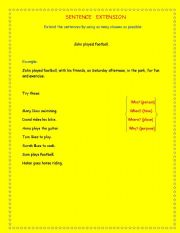 English Worksheets: extend the sentence