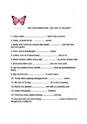 English Worksheets: but-because-and