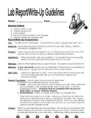 LAb Report Write-up - ESL worksheet by jlh1008