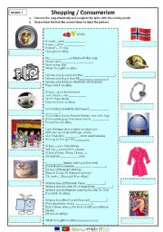 English worksheet: Shopping/consumerism