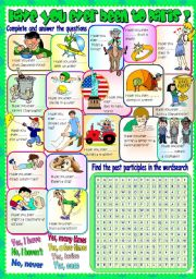 English Worksheet: HAVE YOU EVER BEEN TO PARIS? (+ WORD SEARCH)