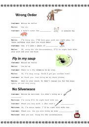 English Worksheet: Restaurant complaints dialogue