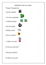English worksheet: Jobs and House