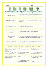 English Worksheet: --*--*--*-- Idioms 04! --*-- Animals --*-- Definitions + Exercise --*-- BW Included --*--*--*-- FULLY EDITABLE WITH KEY!