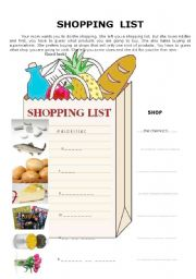 English Worksheet: Shopping list - SHOPS and PRODUCTS (KEY included) 2 pages