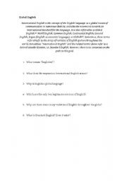 English Worksheet: Global English and Englishes