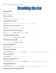 English Worksheets: Breaking the Ice