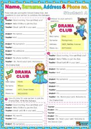 English Worksheet: Personal Information: Name/ Surname/ Address & Phone no.  - communicative approach