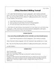 English Worksheets: Standard Writing Format