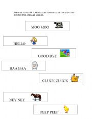 english worksheets match the farm animals to their sound. Black Bedroom Furniture Sets. Home Design Ideas